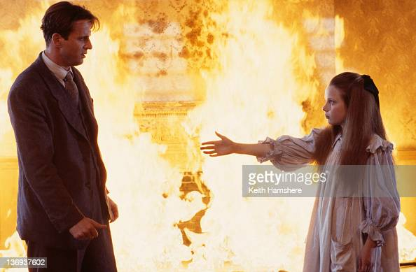 American actor Aidan Quinn and actress Victoria Shalet as his sister Juliet in a scene from the film 'Haunted' 1995