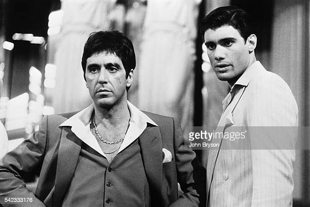 American actor Al Pacino on the set of Scarface directed by Brian de Palma