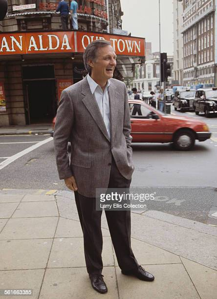 American actor Alan Alda outside the Shaftesbury Theatre in London England where he is starring in the Thornton Wilder play 'Our Town' 1991