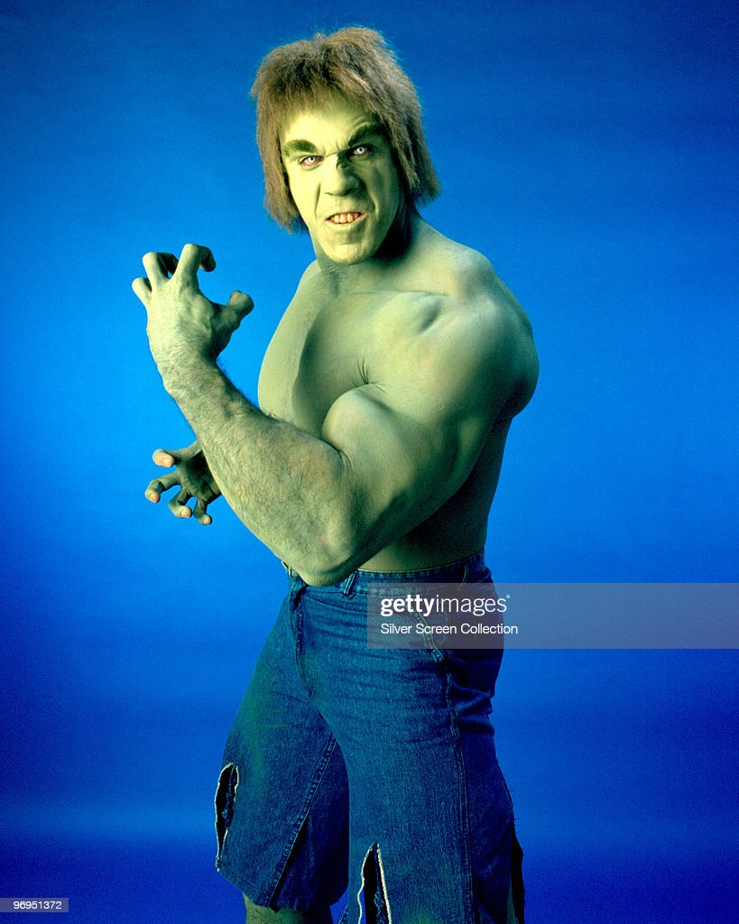 American actor and bodybuilder Lou Ferrigno as Dr Banner's atavistic alter-ego in the television series 'The Incredible Hulk', circa 1978.