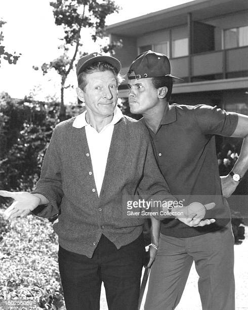 American actor and comedian Danny Kaye with American singer Harry Belafonte in a promotional portrait for 'The Danny Kaye Show' circa 1965