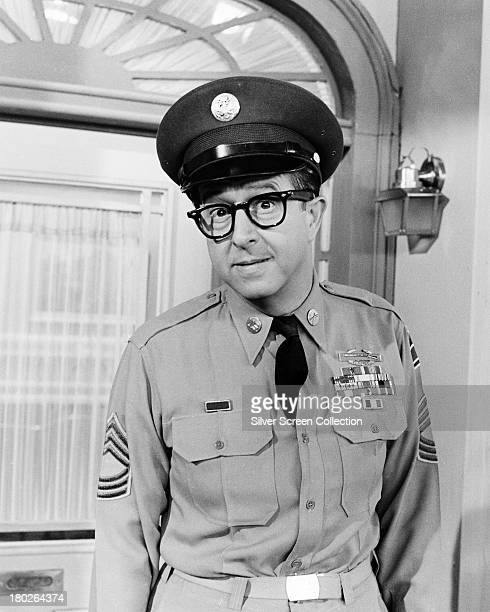 American actor and comedian Phil Silvers as Sergeant Ernie Bilko in a promotional portrait for the US TV sitcom 'The Phil Silvers Show' circa 1957