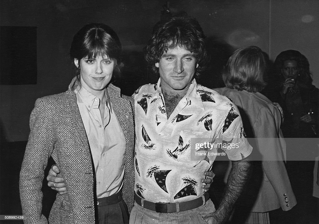 American actor and comedian Robin Williams with actress Pam Dawber at a party given by Paramount Pictures at Paramount Studios Hollywood circa 1978...