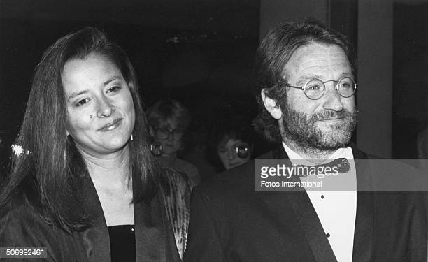 American actor and comedian Robin Williams with his wife Marsha at the 48th Annual Golden Globe Awards held at the Beverly Hilton Hotel Beverly Hills...