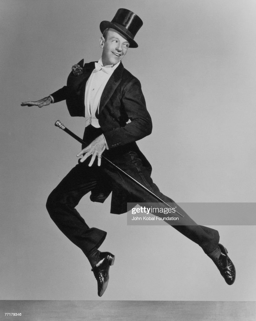 American actor and dancer <a gi-track='captionPersonalityLinkClicked' href=/galleries/search?phrase=Fred+Astaire&family=editorial&specificpeople=70031 ng-click='$event.stopPropagation()'>Fred Astaire</a> (1899 - 1987), mid leap, circa 1935.