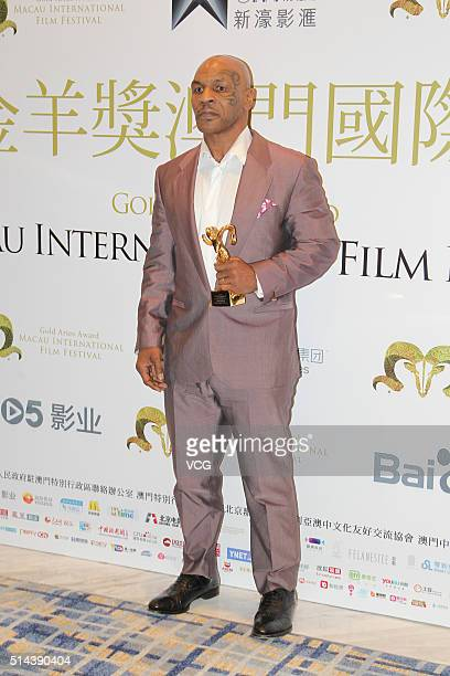 American actor and former professional boxer Mike Tyson attends the Gold Aries Award Of Macau International Film Festival on March 8 2016 in Macau...