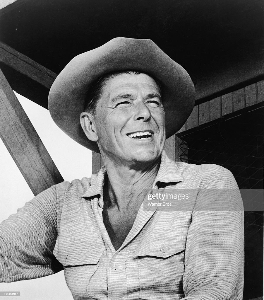 American actor and politician Ronald Reagan in a scene from the 'Temporary Warden' episode of the 'Death Valley Days' television series September 30...