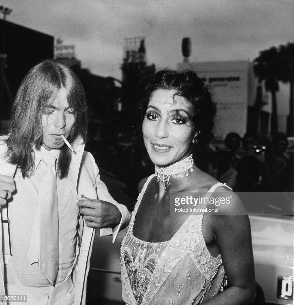 American actor and singer Cher and her husband musician Gregg Allman of the Allman Brothers Band attend the Emmy Awards where Cher's television show...