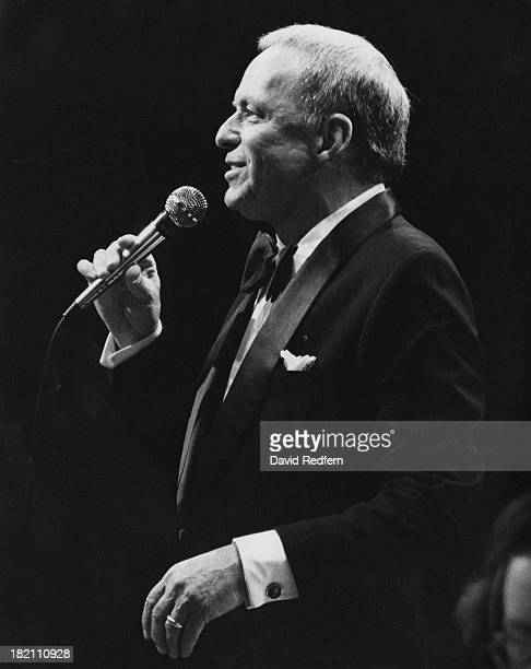 American actor and singer Frank Sinatra performing on stage circa 1980