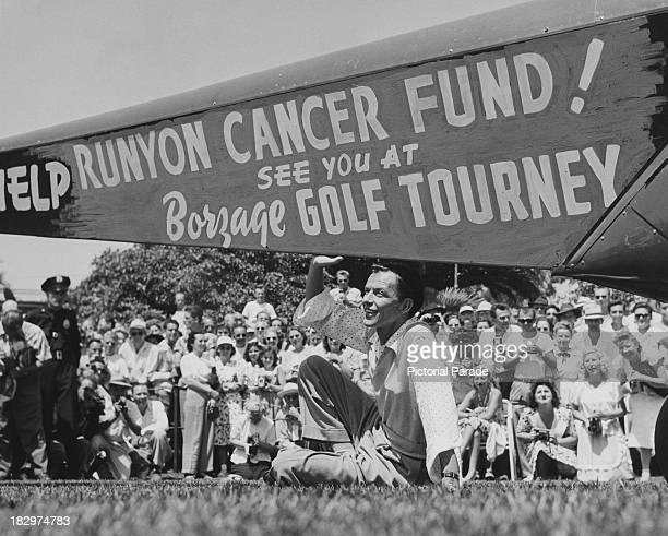 American actor and singer Frank Sinatra promoting the Frank Borzage golf tournament in aid of the Damon Runyon Cancer Fund California USA 1947