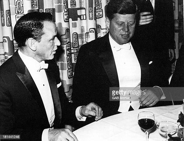 American actor and singer Frank Sinatra with US President John F Kennedy at Kennedy's inaugural ball at the Mayflower Hotel in Washington DC 20th...