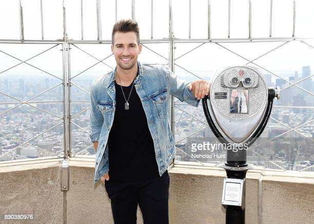 American actor and singer James Maslow visits the Empire State Building on August 11 2017 in New York City