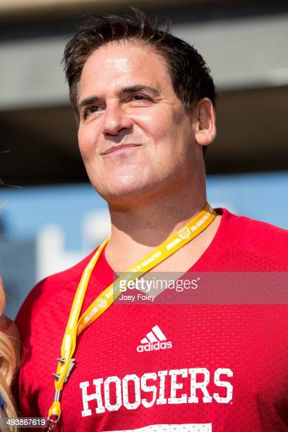 American actor and the owner of the National Basketball Association's Dallas Mavericks Mark Cuban on the red carpet during the 2014 Indy 500 at...