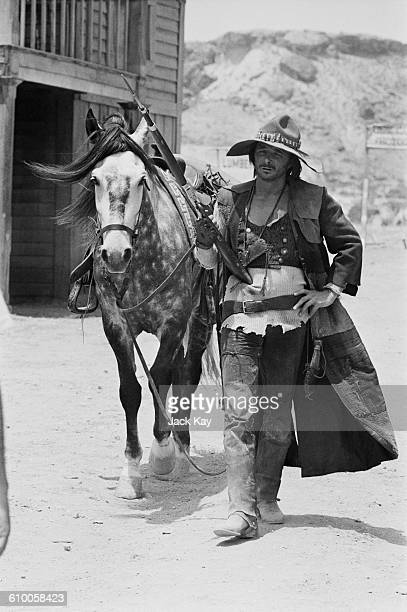American actor and writer Tony Anthony stars in the spaghetti western 'Blindman' being filmed in Almeria in southern Spain 14th July 1971