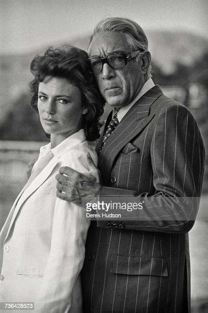 American actor Anthony Quinn with English actress Jacqueline Bisset on the set of J Lee Thompson's 1978 film The Greek Tycoon loosely based on the...