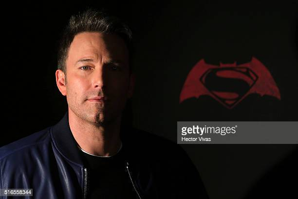 American actor Ben Affleck poses for pictures during the Batman v Superman Movie photocall at St Regis Hotel on March 19 2016 in Mexico City Mexico