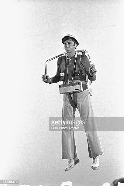 American actor Bob Denver wears a harness and a fake jetpack during the episode 'The Pigeon' of the CBS sitcom 'Gilligan's Island' Studio City...