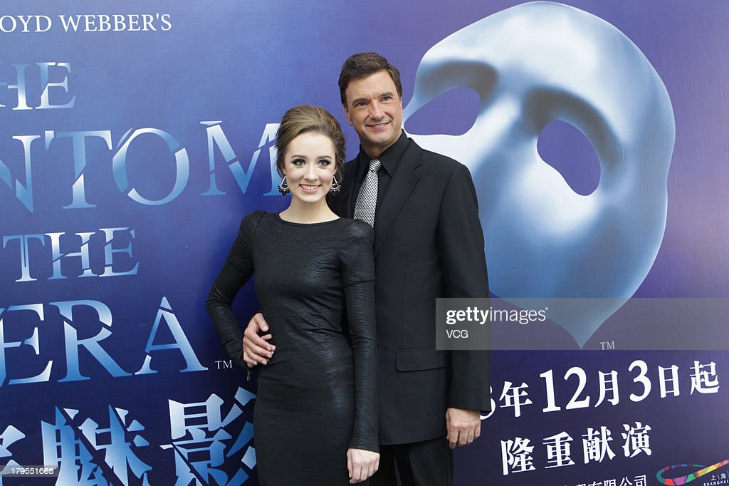 American actor Brad Little and Australian actress Claire Lyon attend musical 'The Phantom of The Opera' press conference at Shanghai Culture Square on September 4, 2013 in Shanghai, China.