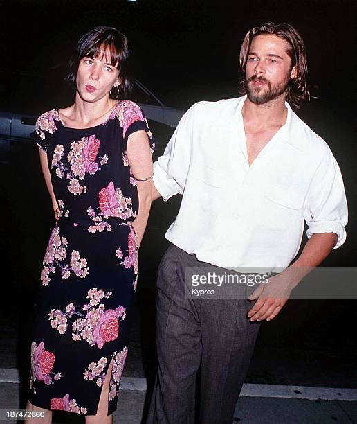 American actor Brad Pitt with actress Juliette Lewis at the Beverley Hills premiere of 'Johnny Suede' 19th August 1992