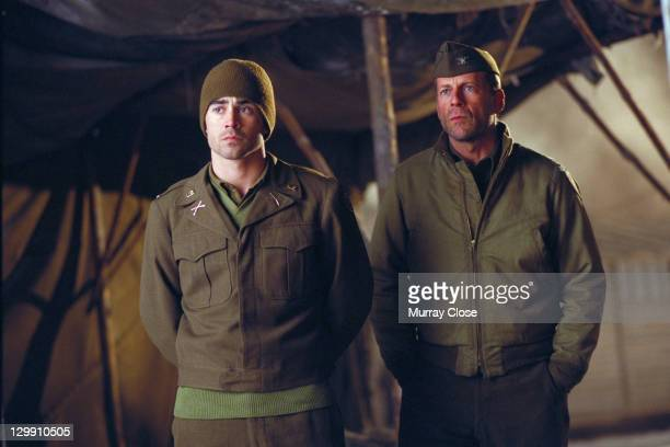 American actor Bruce Willis as Colonel William McNamara and Irish actor Colin Farrell as Lieutenant Thomas Hart in a scene from the film 'Hart's War'...