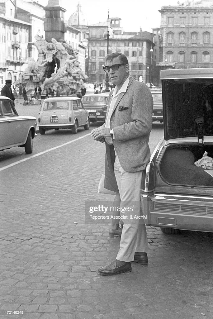 'American actor Burt Lancaster portrayed in piazza Navona during a visit to Italy Rome 1966 '
