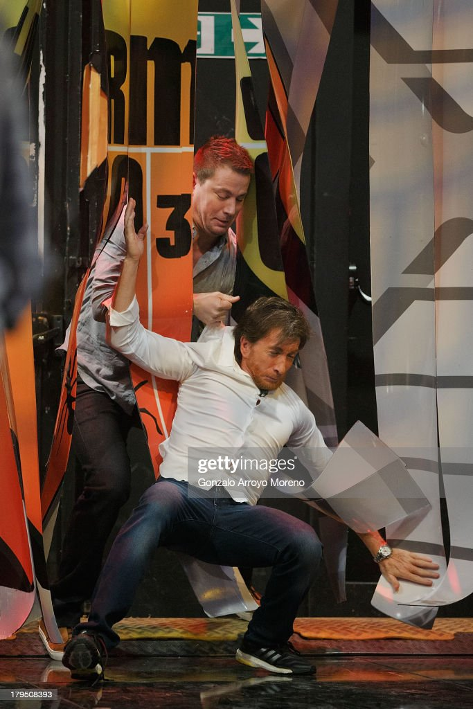 American actor Channing Tatum holds Pablo Motos during his appearance on 'El Hormiguero' TV show at Vertice Studio on September 4 2013 in Madrid Spain