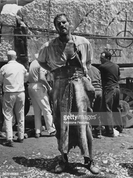 American actor Charlton Heston as painter Michelangelo on the set of the Carol Reed film 'The Agony and the Ecstasy' in Todi Italy 1964