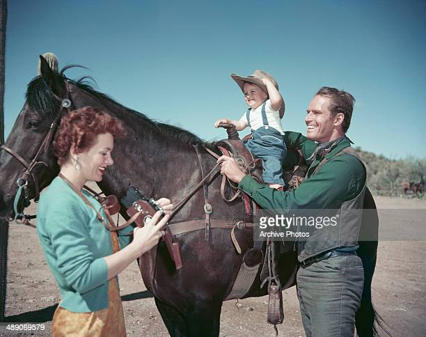 American actor Charlton Heston with his wife Lydia and their son Fraser Clarke Heston circa 1956