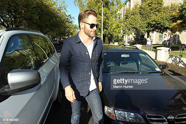 American actor Chris Pine arriving at Ashburton District Court on March 17 2014 in Christchurch New Zealand Police say the actor was stopped at a...