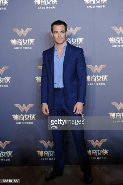 American actor Chris Pine attends the press conference for film 'Wonder Woman ' on May 15 2017 in Shanghai China