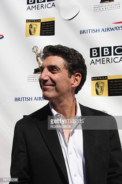 American actor Chuck Lorre arrives for a preEmmy Awards tea party hosted by the British Academy of Film Television Arts/Los Angeles and the Academy...