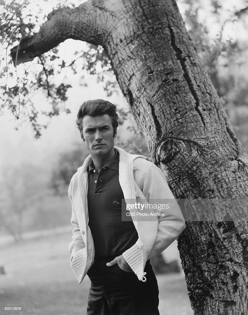 American actor <a gi-track='captionPersonalityLinkClicked' href=/galleries/search?phrase=Clint+Eastwood&family=editorial&specificpeople=201795 ng-click='$event.stopPropagation()'>Clint Eastwood</a> poses for a portrait near a tree wearing a sweater and Izod shirt, 1961.