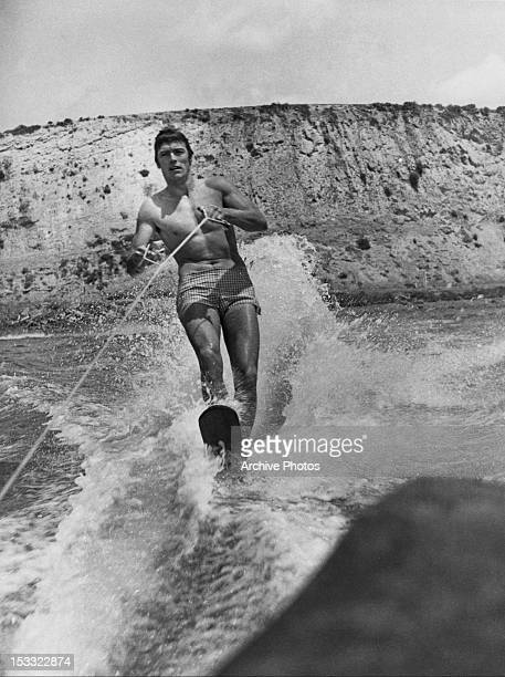 American actor Clint Eastwood waterskiing USA circa 1960
