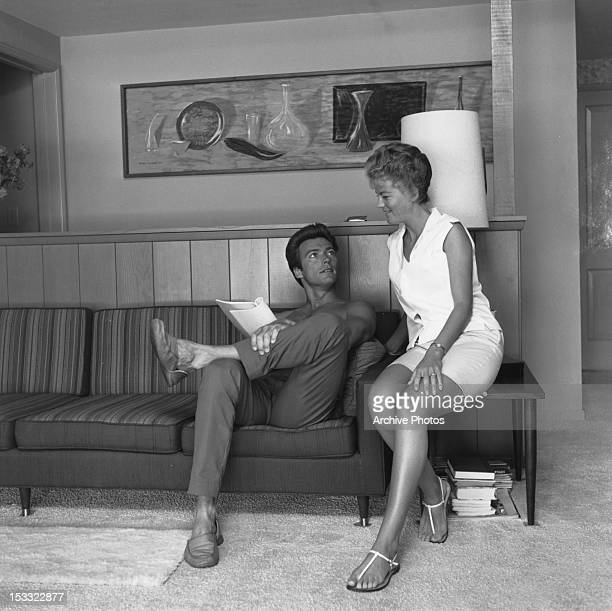 American actor Clint Eastwood with his first wife Maggie Johnson at their home in the Hollywood Hills Los Angeles California circa 1960