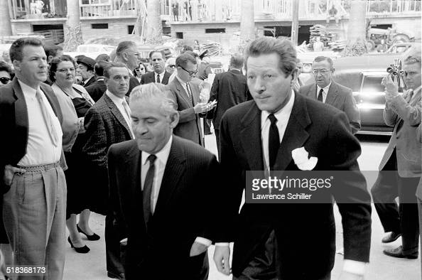 American actor Danny Kaye arrives at a memorial service for producer Mike Todd at Temple Israel of Hollywood Los Angeles California 1958