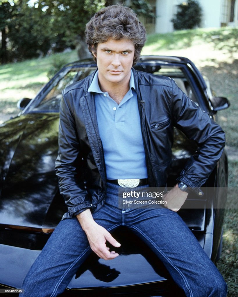 American actor <a gi-track='captionPersonalityLinkClicked' href=/galleries/search?phrase=David+Hasselhoff&family=editorial&specificpeople=209380 ng-click='$event.stopPropagation()'>David Hasselhoff</a>, star of the TV show 'Knight Rider' sitting on KITT, the artificially intelligent supercar featured in the series, circa 1983.