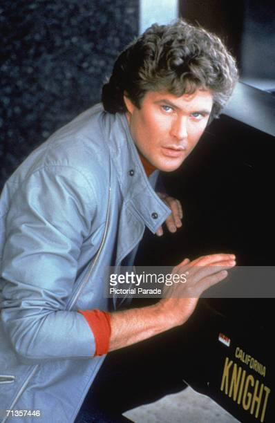 American actor David Hasselhoff wearing a leather jacket as Michael Knight in the NBC television series 'Knight Rider' early 1980s