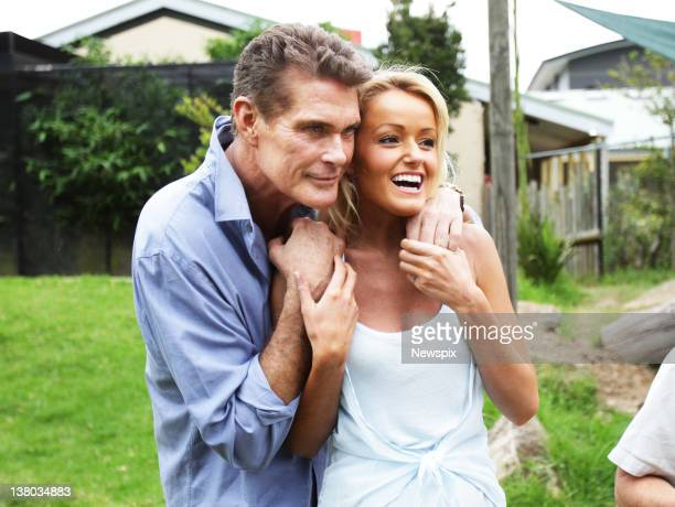 American actor David Hasselhoff with his girlfriend Hayley Roberts during a visit to Taronga Zoo on January 31 2012 in Sydney Australia