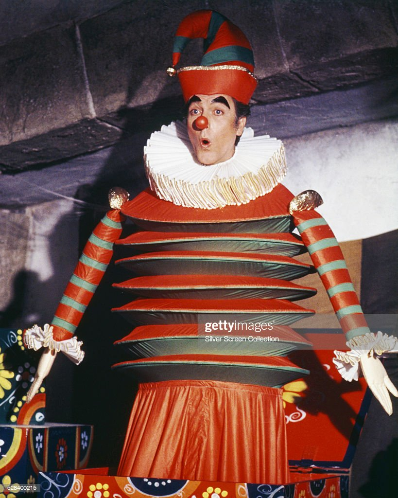 American actor Dick Van Dyke as Caractacus Potts disguised as a lifesized jackinthebox in 'Chitty Chitty Bang Bang' directed by Ken Hughes 1968
