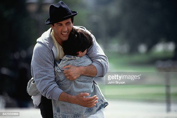 American actor director screenwriter and producer Sylvester Stallone and his son Sage Stallone on the set of Rocky V directed by John G Avildsen
