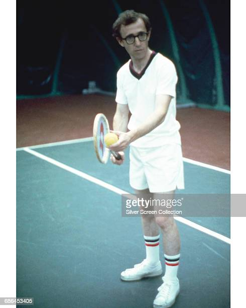 American actor director writer and comedian Woody Allen playing tennis in a scene from the film 'Annie Hall' 1977