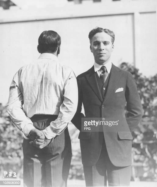 American actor Douglas Fairbanks Sr with English comic actor Charlie Chaplin USA circa 1920