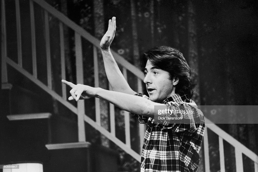 American actor Dustin Hoffman signals directions while in rehearsals for his Broadway directorial debut of the Murray Schisgal comedy 'All Over Town,' at the National Theater in Washington DC, November 29, 1974.