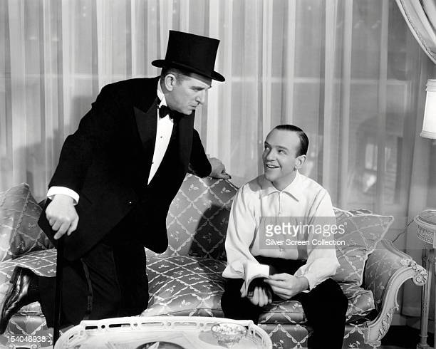 American actor Edward Everett Horton as Jeffrey Baird and American actor and dancer Fred Astaire as Petrov in 'Shall We Dance' directed by Mark...