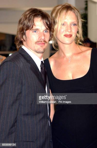 American actor Ethan Hawke with his wife actress Uma Thurman at the 58th Venice Film Festival in Italy