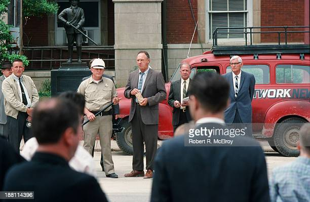 American actor Gene Hackman and unidentified others on the set of the movie 'Mississippi Burning' Braxton Mississippi May 6 1988