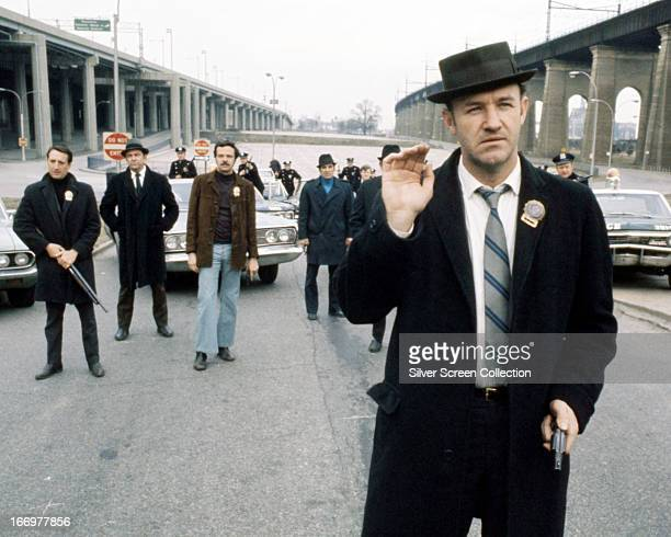 American actor Gene Hackman as Jimmy 'Popeye' Doyle in 'The French Connection' directed by William Friedkin 1971 In the background is Roy Scheider as...