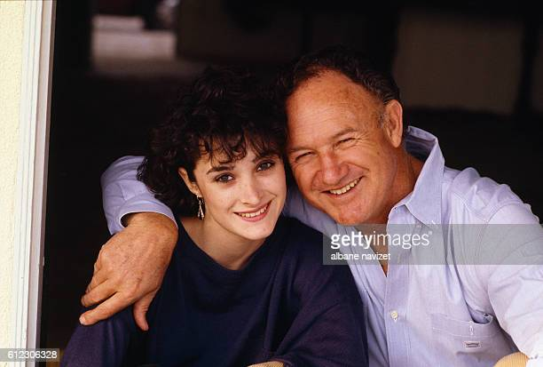 American actor Gene Hackman relaxes with his daughter.