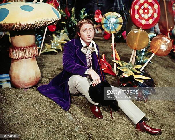 Actors Gene Wilder as Willy Wonka in the film 'Willy Wonka the Chocolate Factory' 1971