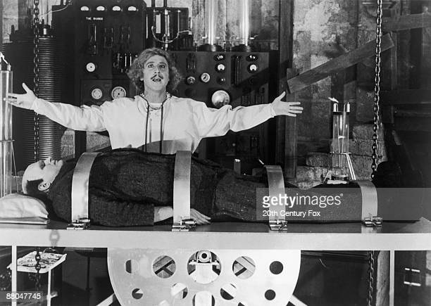 American actor Gene Wilder stars as the grandson of the original Frankenstein with Peter Boyle as the new monster in the Mel Brooks film 'Young...